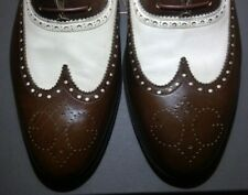 GUCCI ORIGINAL MEN'S SHOES OXFORD BROWN-WHITE LEATHER SIZE 11 US