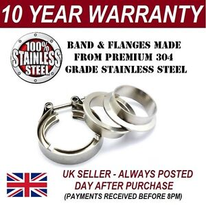 "V-BAND CLAMP + FLANGES COMPLETE STAINLESS STEEL EXHAUST TURBO HOSE 3"" INCH 76mm"