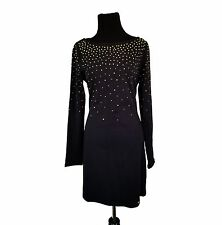 JUICY COUTURE Gorgeous Black Shift Dress with Gold & Clear Rhinestones, Size M