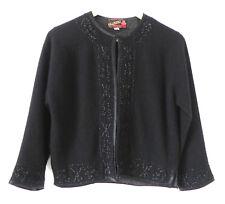 Vtg Valisere Cardigan Black Beading Trim Wash&Wear Size 42 (US M/L)