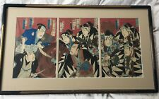 Utagawa Kunisada III triptych.Japanese Meij woodblock print, Kabuki actors 1884.