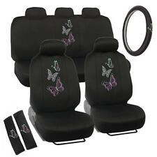 Purple/Green Butterflies Car Seat Covers Design Polyester & Steering Wheel Cover