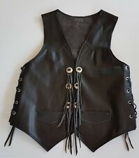 Small  GENUINE LEATHER VEST Stud Metal Button Front Tassels Lace Up Sides  Black