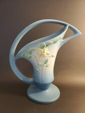 Roseville Pottery columbine blue basket  large vintage floral vase with handle