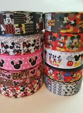 "10 Yards 7/8"" & 1"" Minnie & Mickey Mixed Lot Grosgrain Ribbon Hair Bow Supplies"