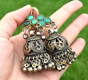 Vintage Big Kuchi Afghan Earrings Tribal Ethnic Dance Antique Silver Chandelier