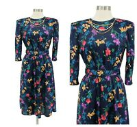 Vintage 80s Tabby Blue Floral Chain Neck Belted Modest Secretary Dress Size S