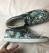 Sperry Top Sider Green Blue Paisley Print Flats Slip On Boat Shoes Womens 9.5