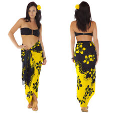 6a8e694633 1 World Sarongs Womens Plumeria Swimsuit Cover-Up Sarong in Yellow/Black  Split