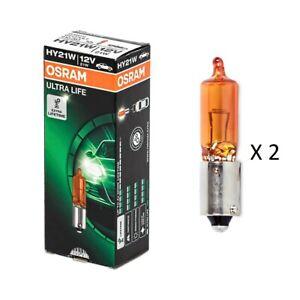 2 x Osram HY21W 12V 21W Amber Base BAW9s Ultra Life Bayonet Globe Bulb (2 Bulbs)