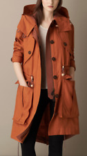 $1350 Burberry Brown Linen Parka with Bellows Pockets Sz XS