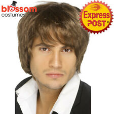 W469 Brown Music Boy Band Short Wig Celebrity 60s 70s 80s 90s Costume Accessory