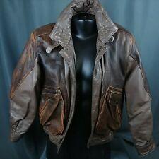 Vtg Leather Bomber Jacket 80s Brown Coat Berman's Unisex Mens Small