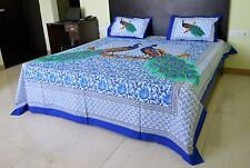 King Size Double Bedspreads Peacock Print Bed Sheet Jaipur Traditional Bed Cover