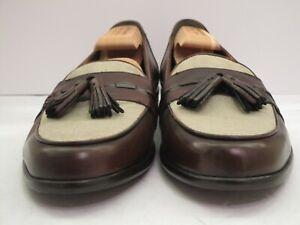Men's NWOB Bragano Brown Calf & Beige Linen Tasseled Italian Loafers Size 11 M