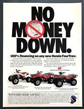 1989 Honda FourTrax ATV 250R 300 Foreman 4x4 photo vintage promo print ad