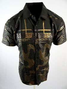 Mens Short Sleeve Shirt Black Italian Pattern Gold Foil Silky Stretch Button Up