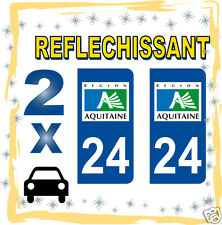 2 stickers REFLECHISSANT département 24 rétro-réfléchissant immatriculation AUTO