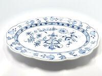 "Antique Meissen Carl Teichert Blue Onion Oval Serving Platter, 17 1/2"""