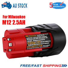 For MILWAUKEE M12B3 M12 12V RED 2.5Ah Lithium Ion Battery 48-11-2401 48-11-2411