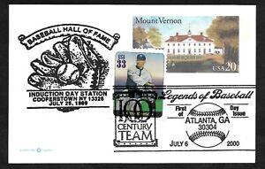#3408i, 33c Baseball Legend  Walter Johnson on #UX305 PC w/ Hall of Fame Cachet