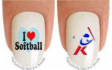 "Nail Art #311 SPORTS ""Softball I love Heart"" WaterSlide Nail Decals Transfers"