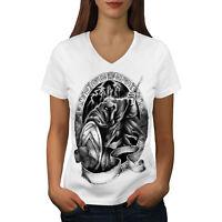 Wellcoda Spartan Warrior Womens V-Neck T-shirt, Movie Graphic Design Tee