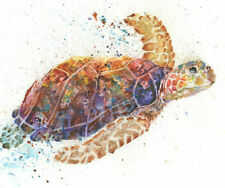 Fine Art Print of Sea TURTLE watercolour by HELEN APRIL ROSE   692