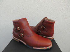 TSUBO KRISTOFER BROWN LEATHER BUCKLE ANKLE BOOTS, MENS US 12/ EUR 45.5 ~NIB