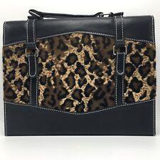Leopard Cosmetic Slim Briefcase Makeup Box Travel Storage Mirror Handle Black