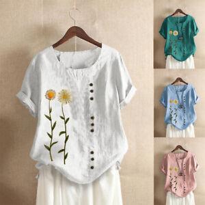 UK Summer Womens Cotton Linen Loose Blouse Floral T-Shirts Ladies Tops Plus Size