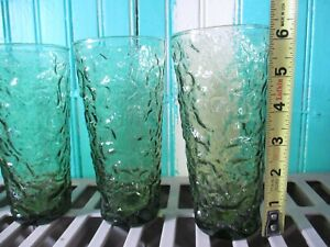 4 Vintage Anchor Hocking Lido Milano Avocado Green Crinkle 16oz Tumblers 6.5""