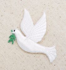 White Peace Dove Left/Olive Branch Religious Iron on Applique/Embroidered Patch