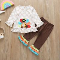 2PCS Toddler Kid Baby Girl Cartoon Long Sleeve Top Pants Thanksgiving Outfit Set