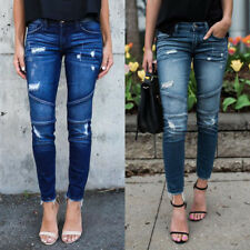 Women's Denim Skinny Pants Ripped Destroyed Stretch Jeans Slim Pencil Trousers C
