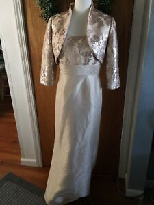Adrianna Papell Dress & Jacket Champagne Sequin Floral Sz 6 Mother Of The Bride