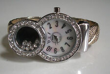GOLD/SILVER FINISH CLEAR CRYSTAL DESIGNER STYLE ELEGANT WOMEN'S BANGLE WATCH