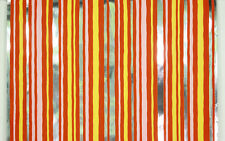 1970's Vintage Wallpaper Retro Flocked Orange Pink Stripe Mylar Flock