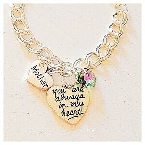 Mother Silver Custom Charm Bracelet 'You Are Always in My Heart' Jewelry Gift