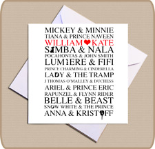 Personalised Disney Card Couple Anniversary Wedding Engagement Birthday