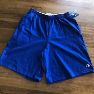 NWT Champion Men's Jersey Short With Pockets Size Medium Drawstring Waist Blue