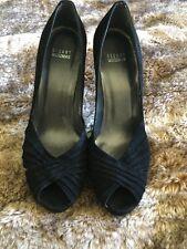 Stuart Weitzman Black Suede Leather Peep Toe Platform Stiletto Pumps Size 11 M
