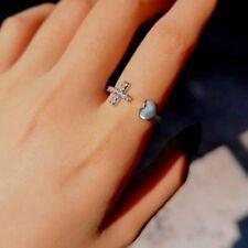 Charm Women Crystal Zircon Cross Adjustable Ring Wedding Engagement Jewelry Gift