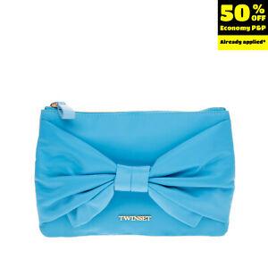 TWIN-SET SIMONA BARBIERI Clutch Bag Pouch Bow Front Logo Detail Zip Closure