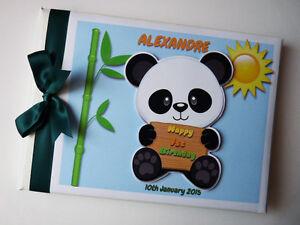 Personalised Panda birthday guest book, Panda kids album, gift