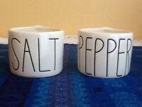 NEWRae Dunn by Magenta Stem Large Print Salt & Pepper Cellar Set RARE RETIRED!
