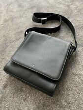 Mont Blanc Messenger Bag with Strap Genuine 100% Leather Unused Gift Black