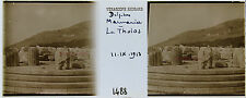 GRECE DELPHES STEREO 45x107mm Plaque de verre positive 1913