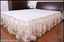 New Fashion Beige W150cm * L200cm Decorative Double Lace Bedspreads Bed Skirt