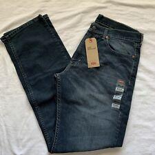 Levis Mens 505 Jeans 33X34 Straight Leg Dark Blue Stretch Denim